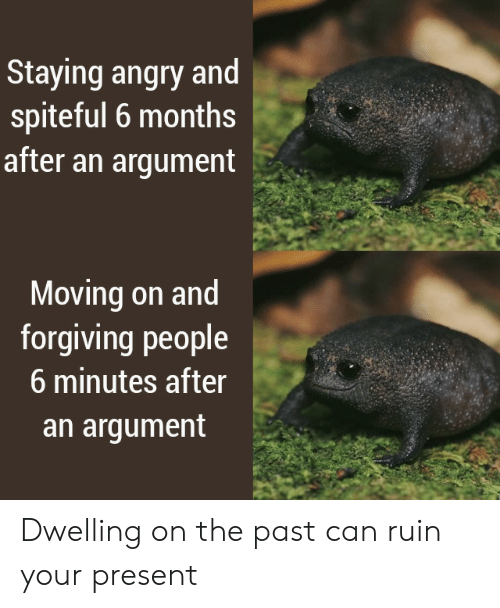 Ruin: Staying angry and  spiteful 6 months  after an argument  Moving on and  forgiving people  6 minutes after  an argument Dwelling on the past can ruin your present
