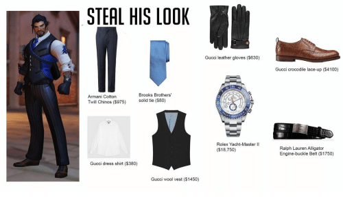 Gucci, Ralph Lauren, and Alligator: STEAL HIS LOOK  Gucci leather gloves ($630)  Gucci crocodile lace-up ($4100)  Brooks Brothers'  Armani Cotton  Twill Chinos (5975)  solid tie ($80)  HT-MAS  Rolex Yacht-Master lI  ($18,750)  Ralph Lauren Alligator  Engine-buckle Belt ($1750)  Gucci dress shirt ($380)  Gucci wool vest ($1450)