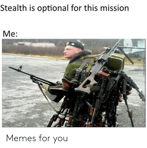 Memecenter: Stealth is optional for this mission  Me:  MemeCenter.com Memes for you