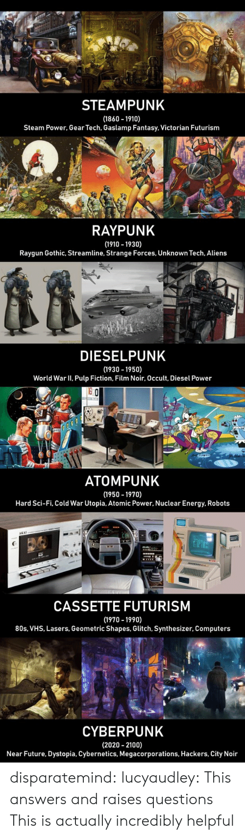 Pulp Fiction: STEAMPUNK  (1860 1910)  Steam Power, Gear Tech, Gaslamp Fantasy, Victorian Futurism  RAYPUNK  (1910 -1930)  Raygun Gothic, Streamline, Strange Forces, Unknown Tech, Aliens  LI  DIESELPUNK  (1930 -1950)  World War II, Pulp Fiction, Film Noir, Occult, Diesel Power  o Ch  ATOMPUNK  (1950 -1970)  Hard Sci-Fi, Cold War Utopia, Atomic Power, Nuclear Energy, Robots  AKAI  CASSETTE FUTURISM  (1970 -1990)  80s, VHS, Lasers, Geometric Shapes, Glitch, Synthesizer, Computers  CYBERPUNK  (2020 2100)  Near Future, Dystopia, Cybernetics, Megacorporations, Hackers, City Noir disparatemind: lucyaudley: This answers and raises questions   This is actually incredibly helpful
