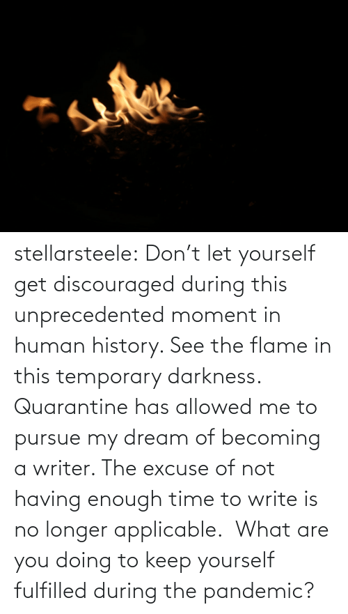Longer: stellarsteele: Don't let yourself get discouraged during this unprecedented moment in human history. See the flame in this temporary darkness.  Quarantine has allowed me to pursue my dream of becoming a writer. The excuse of not having enough time to write is no longer applicable.  What are you doing to keep yourself fulfilled during the pandemic?