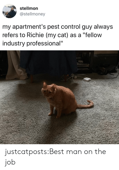"Target, Tumblr, and Control: stellmon  @stellmoney  my apartment's pest control guy always  refers to Richie (my cat) as a ""fellow  industry professional"" justcatposts:Best man on the job"