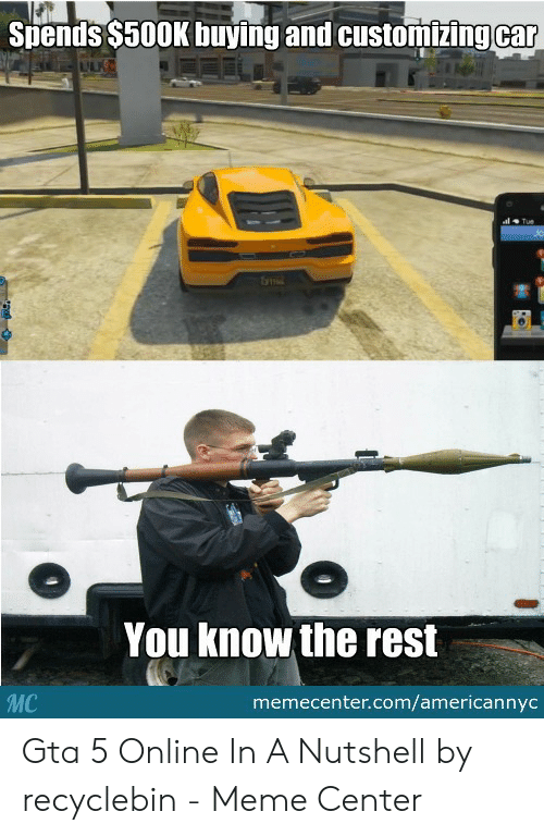 Gta 5 Memes: Stends S500K buying and customizingcar  You know the rest  memecenter.com/americannyc Gta 5 Online In A Nutshell by recyclebin - Meme Center