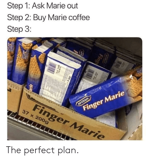 fing: Step 1: Ask Marie out  Step 2: Buy Marie coffee  Step 3:  AP  Finger Marie  M Vitie's  Finger Marie  37 x 200g  M S  Fing  MV  200 g e  38N  arie  w The perfect plan.