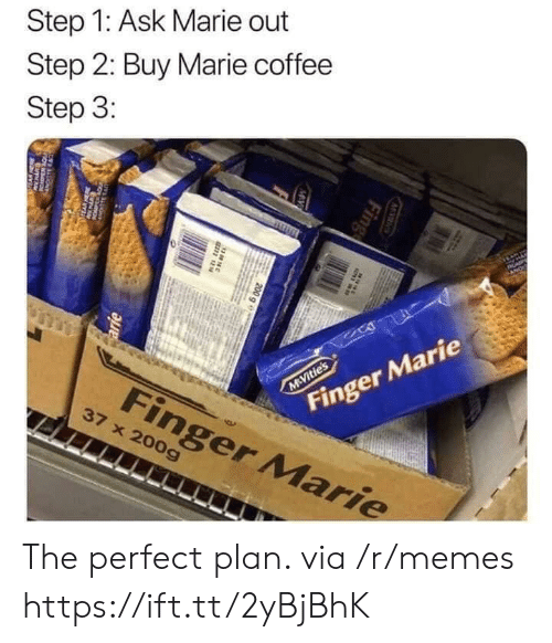 Memes, Coffee, and Ask: Step 1: Ask Marie out  Step 2: Buy Marie coffee  Step 3:  AP  Finger Marie  M Vitie's  Finger Marie  37 x 200g  M S  Fing  MV  200 g e  38N  arie  w The perfect plan. via /r/memes https://ift.tt/2yBjBhK