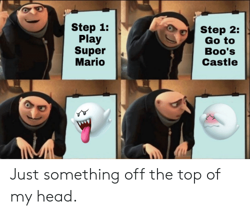 Super Mario: Step 1:  Play  Super  Mario  Step 2:  Go to  Boo's  Castle Just something off the top of my head.