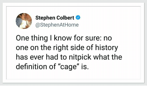 "Memes, Stephen, and Definition: Stephen Colbert  @StephenAtHome  One thing I know for sure: no  one on the right side of history  has ever had to nitpick what the  definition of ""cage"" is."