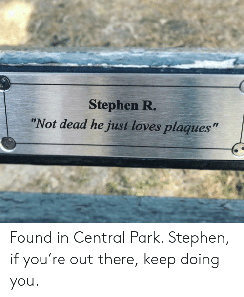 """Stephen, Central Park, and Park: Stephen R.  """"Not dead he just loves plaques"""" Found in Central Park. Stephen, if you're out there, keep doing you."""