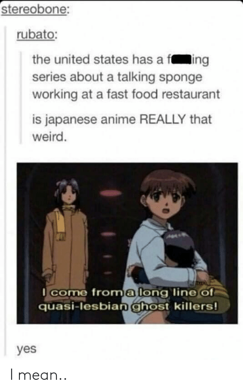 fing: stereobone:  rubato:  the united states has a fing  series about a talking sponge  working at a fast food restaurant  is japanese anime REALLY that  weird.  come froma long line of  quasi-lesbianghost killers!  yes I mean..
