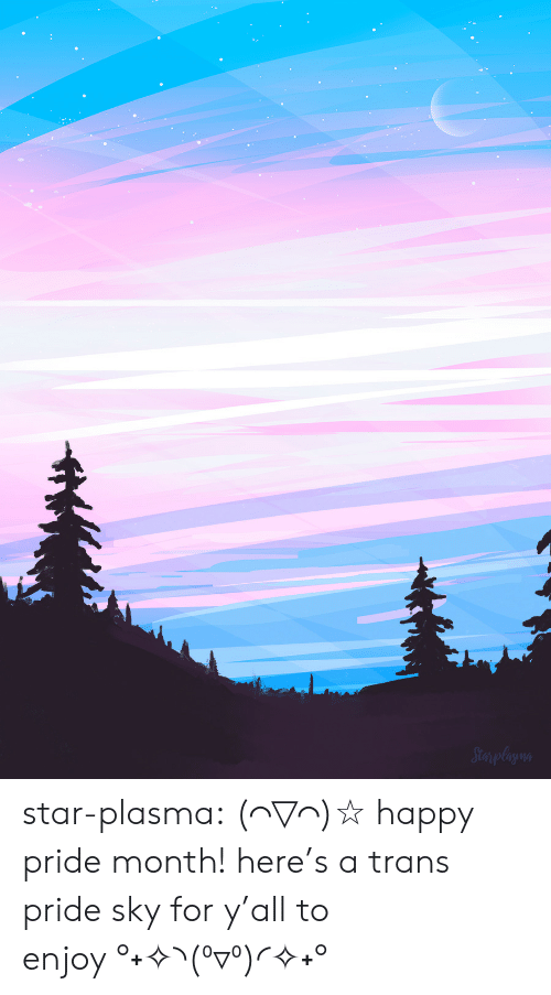 Target, Tumblr, and Blog: Sterplagon star-plasma:  (⌒▽⌒)☆happy pride month! here's a trans pride sky for y'all to enjoy°˖✧◝(⁰▿⁰)◜✧˖°