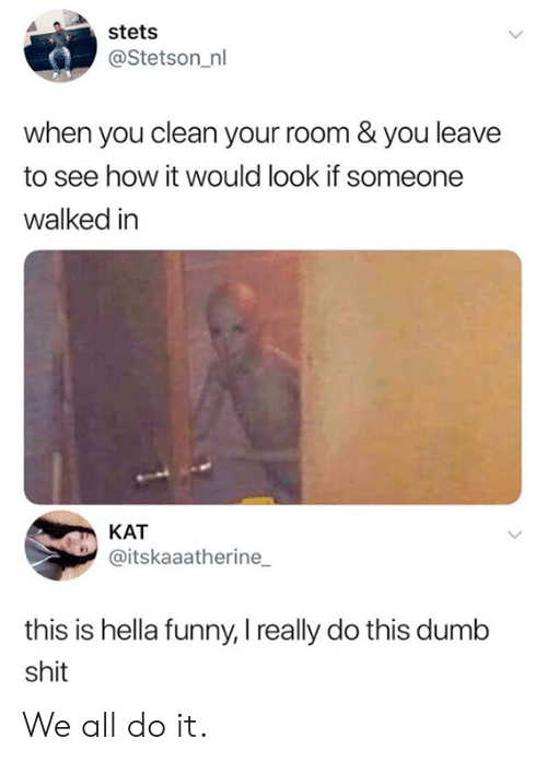 dumb shit: stets  @Stetson_nl  when you clean your room & you leave  to see how it would look if someone  walked in  KAT  @itskaaatherine  this is hella funny, I really do this dumb  shit We all do it.