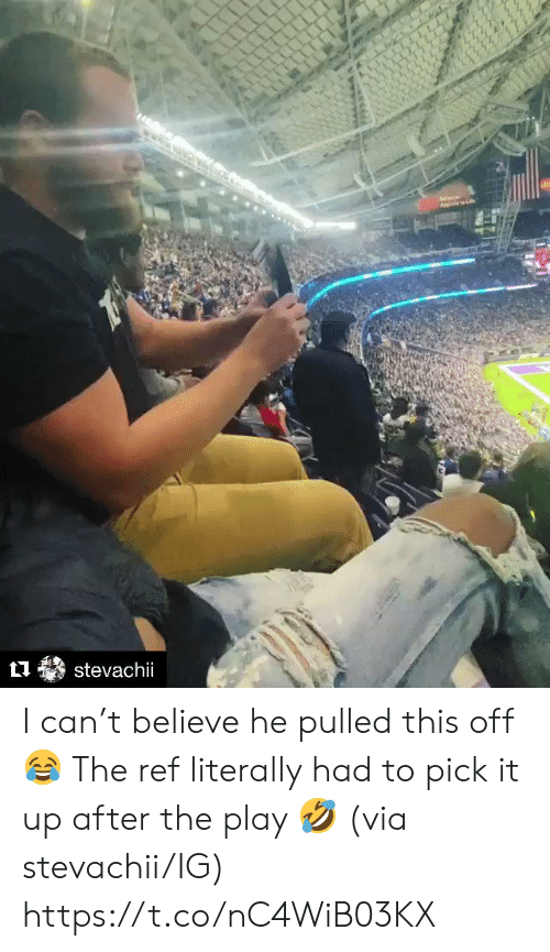 ref: stevachii I can't believe he pulled this off 😂  The ref literally had to pick it up after the play 🤣 (via stevachii/IG) https://t.co/nC4WiB03KX