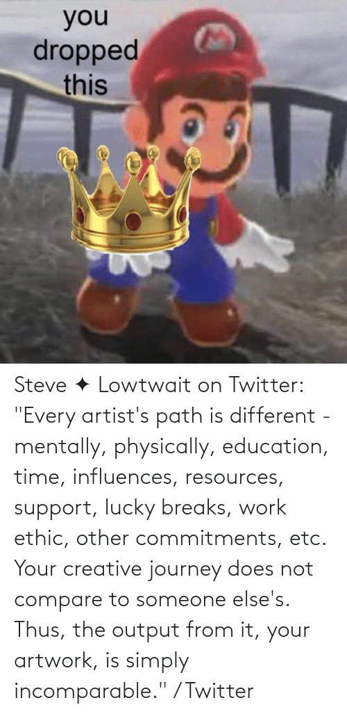 """thus: Steve ✦ Lowtwait on Twitter: """"Every artist's path is different - mentally, physically, education, time, influences, resources, support, lucky breaks, work ethic, other commitments, etc. Your creative journey does not compare to someone else's. Thus, the output from it, your artwork, is simply incomparable."""" / Twitter"""