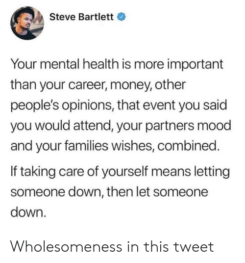Money, Mood, and Down: Steve Bartlett  Your mental health is more important  than your career, money, other  people's opinions, that event you said  you would attend, your partners mood  and your families wishes, combined  If taking care of yourself means letting  someone down, then let someone  down Wholesomeness in this tweet