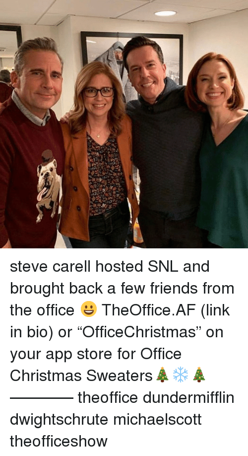 """SNL: steve carell hosted SNL and brought back a few friends from the office 😀 TheOffice.AF (link in bio) or """"OfficeChristmas"""" on your app store for Office Christmas Sweaters🎄❄️🎄 ———— theoffice dundermifflin dwightschrute michaelscott theofficeshow"""