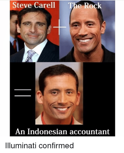 Accountant: Steve Carell  The Rock  An Indonesian accountant Illuminati confirmed