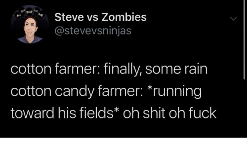 Toward: Steve vs Zombies  @stevevsninjas  cotton farmer: finally, some rain  cotton candy farmer: *running  toward his fields* oh shit oh fuck