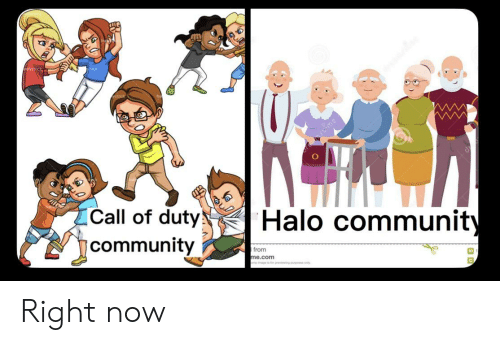 Community, Halo, and Reddit: stime  Call of duty  Halo community  community  I from  me.com  o odind tuuat deu Right now