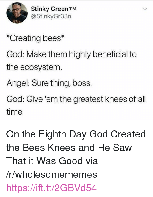 """stinky: Stinky Green TM  @StinkyGr33n  *Creating bees*  God: Make them highly beneficial to  the ecosystem  Angel: Sure thing, boss.  God: Give 'em the greatest knees of all  time <p>On the Eighth Day God Created the Bees Knees and He Saw That it Was Good via /r/wholesomememes <a href=""""https://ift.tt/2GBVd54"""">https://ift.tt/2GBVd54</a></p>"""