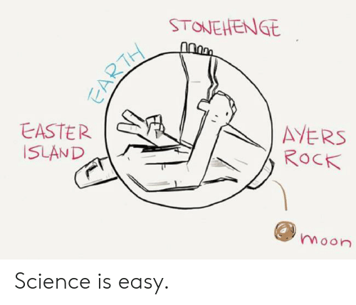 Easter, Earth, and Moon: STONEHENGE  AYERS  ROCK  EASTER  ISLAND  moon  EARTH Science is easy.