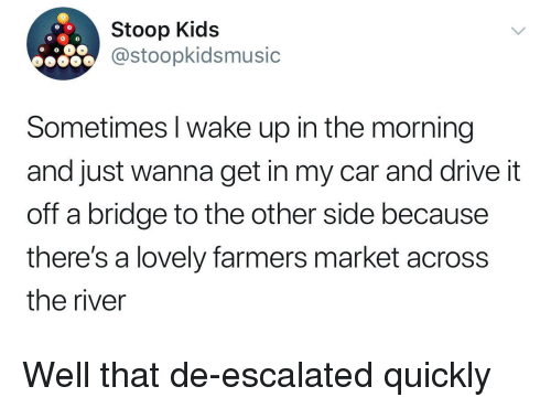 farmers market: Stoop Kids  @stoopkidsmusic  Sometimes I wake up in the morning  and just wanna get in my car and drive it  off a bridge to the other side because  there's a lovely farmers market across  the river <p>Well that de-escalated quickly</p>