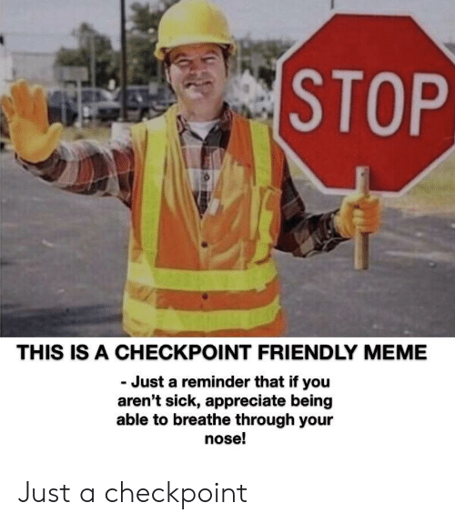 Meme, Appreciate, and Sick: STOP  THIS IS A CHECKPOINT FRIENDLY MEME  Just a reminder that if you  aren't sick, appreciate being  able to breathe through your  nose! Just a checkpoint