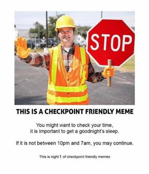 Meme, Memes, and Time: STOP  THIS IS A CHECKPOINT FRIENDLY MEME  You might want to check your time,  it is important to get a goodnight's sleep.  If it is not between 10pm and 7am, you may continue.  This is night 1 of checkpoint friendly memes