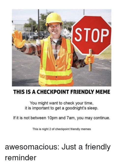 Meme, Memes, and Tumblr: STOP  THIS IS A CHECKPOINT FRIENDLY MEME  You might want to check your time,  it is important to get a goodnight's sleep.  If it is not between 10pm and 7am, you may continue.  This is night 2 of checkpoint friendly memes awesomacious:  Just a friendly reminder