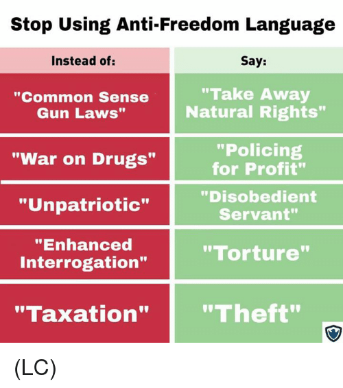 """Policing: Stop Using Anti-Freedom Language  Instead of:  Say:  """"Common Sense  Gun Laws""""  """"Take Away  Natural Rights""""  """"Policing  for Profit""""  """"Disobedient  Servant""""  """"War on Drugs""""  """"Unpatriotic""""  """"Enhanced  Interrogation""""  """"Torture  """"Taxation""""""""Theft"""" (LC)"""
