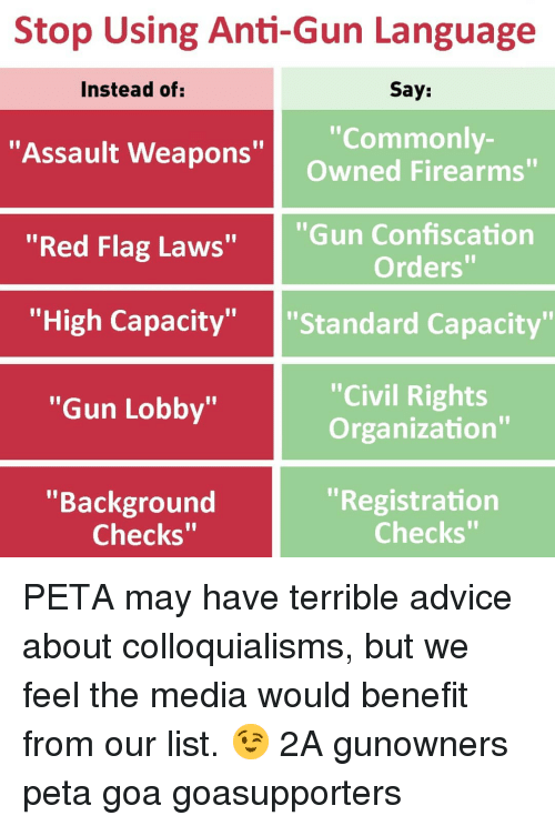"""Advice, Memes, and Peta: Stop Using Anti-Gun Language  Say:  """"Commonly-  Owned Firearms""""  Instead of  """"Assault Weapons""""  """"Red Flag Laws""""  """"Gun Confiscation  Orders""""  """"'High Capacity"""" """"Standard Capacity""""  """"Civil Rights  Organization""""  """"Gun Lobby""""  """"Background  """"Registration  Checks""""  Checks"""" PETA may have terrible advice about colloquialisms, but we feel the media would benefit from our list. 😉 2A gunowners peta goa goasupporters"""
