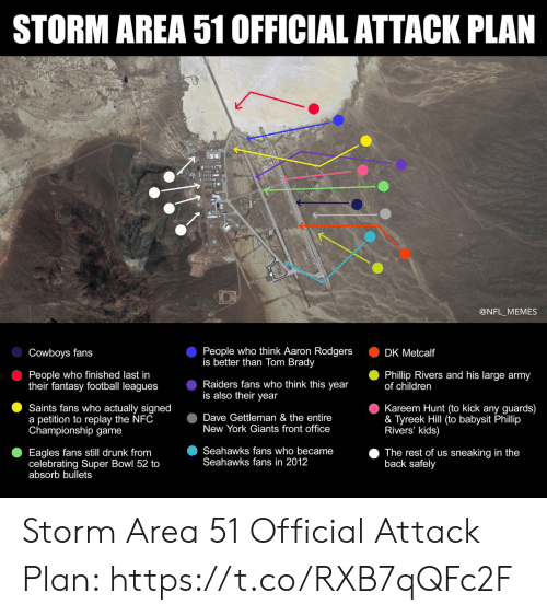 Tyreek Hill: STORM AREA 51 OFFICIAL ATTACK PLAN  @NFL_MEMES  People who think Aaron Rodgers  is better than Tom Brady  Cowboys fans  DK Metcalf  People who finished last in  their fantasy football leagues  Phillip Rivers and his large army  of children  Raiders fans who think this year  is also their year  Kareem Hunt (to kick any guards)  & Tyreek Hill (to babysit Phillip  Rivers' kids)  Saints fans who actually signed  a petition to replay the NFC  Championship game  Dave Gettleman & the entire  New York Giants front office  Seahawks fans who became  Seahawks fans in 2012  Eagles fans still drunk from  celebrating Super Bowl 52 to  absorb bullets  The rest of us sneaking in the  back safely Storm Area 51 Official Attack Plan: https://t.co/RXB7qQFc2F