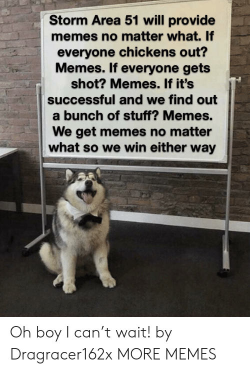 Chickens: Storm Area 51 will provide  memes no matter what. If  everyone chickens out?  Memes. If everyone gets  shot? Memes. If it's  successful and we find out  a bunch of stuff? Memes.  We get memes no matter  what so we win either way Oh boy I can't wait! by Dragracer162x MORE MEMES