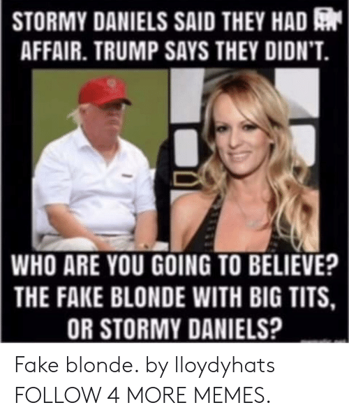 Trump Says: STORMY DANIELS SAID THEY HAD  AFFAIR. TRUMP SAYS THEY DIDN'T.  WHO ARE YOU GOING TO BELIEVE?  THE FAKE BLONDE WITH BIG TITS,  OR STORMY DANIELS? Fake blonde. by lloydyhats FOLLOW 4 MORE MEMES.