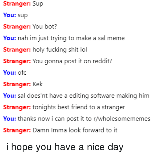 have a nice day: Stranger: Sup  You: sup  Stranger: You bot?  You: nah im just trying to make a sal meme  Stranger: holy fucking shit lol  Stranger: You gonna post it on reddit?  You: ofc  Stranger: Kek  You: sal does'nt have a editing softw  Stranger: tonights best friend to a stranger  You: thanks now i can post it to r/wholesomememes  are making him  Stranger: Damn Imma look fornward to it i hope you have a nice day