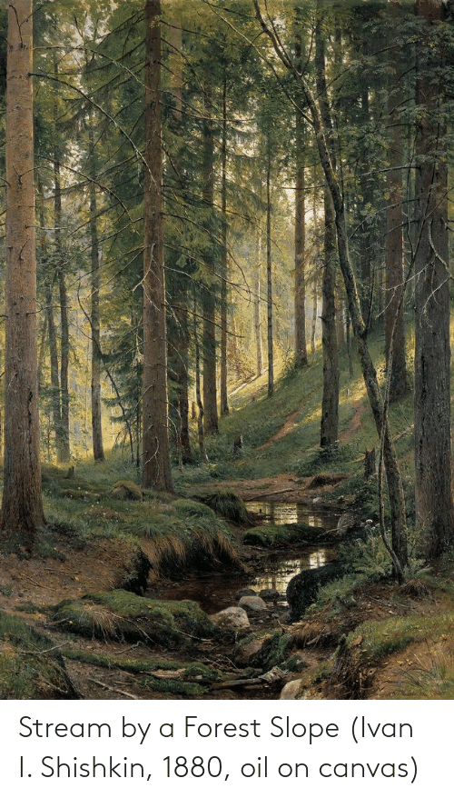 ivan: Stream by a Forest Slope (Ivan I. Shishkin, 1880, oil on canvas)
