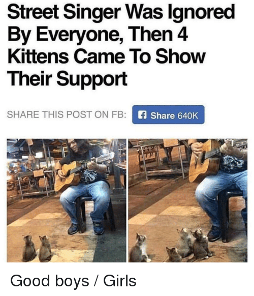 Girls, Good, and Kittens: Street Singer Was lgnored  By Everyone, Then 4  Kittens Came To Show  Their Support  SHARE THIS POST ON FB:  Share 640K Good boys / Girls