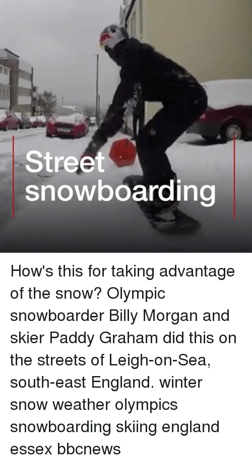skiing: Street  snowboarding How's this for taking advantage of the snow? Olympic snowboarder Billy Morgan and skier Paddy Graham did this on the streets of Leigh-on-Sea, south-east England. winter snow weather olympics snowboarding skiing england essex bbcnews
