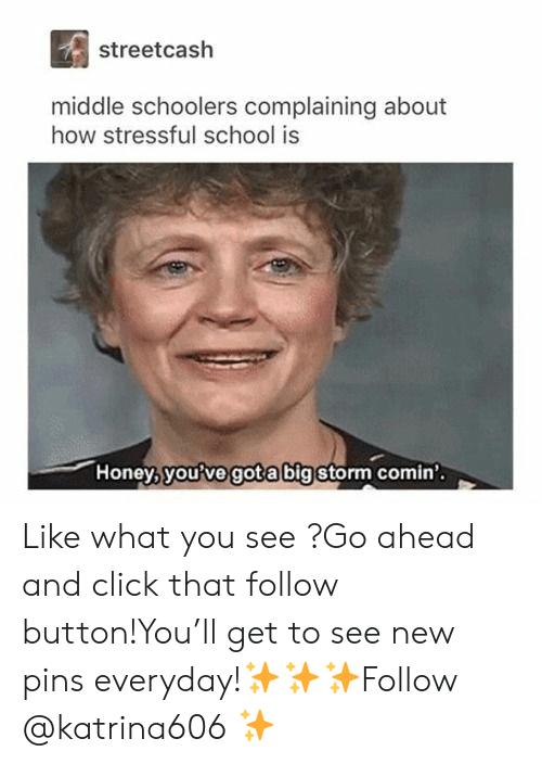 Click, School, and How: streetcash  middle schoolers complaining about  how stressful school is  Honey, you?ve gota bigstorm comin Like what you see ?Go ahead and click that follow button!You'll get to see new pins everyday!✨✨✨Follow @katrina606 ✨
