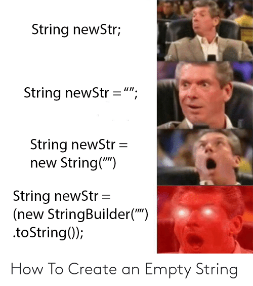 """create: String newStr;  String newStr ="""";  String newStr  new String("""")  String newStr =  (new StringBuilder("""")  .toString(); How To Create an Empty String"""