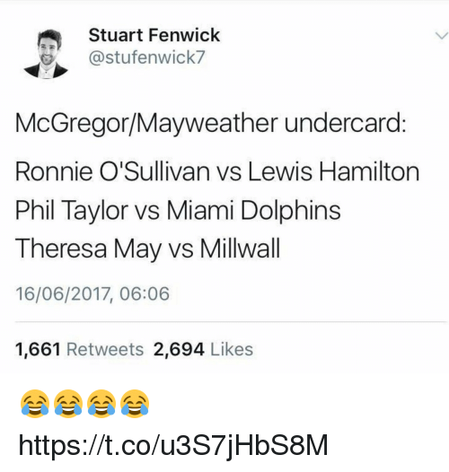 Miami Dolphins: Stuart Fenwick  stufenwick7  McGregor Mayweather undercard  Ronnie O'Sullivan vs Lewis Hamilton  Phil Taylor vs Miami Dolphins  Theresa May vs Millwall  16/06/2017, 06:06  1,661 Retweets  2.694  Likes 😂😂😂😂 https://t.co/u3S7jHbS8M