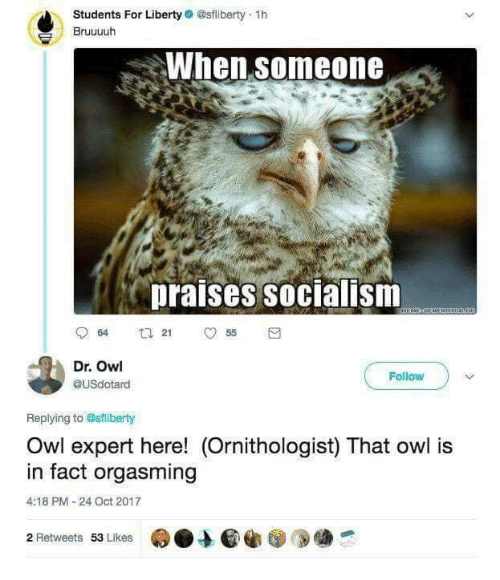 orgasming: Students For Liberty @sfliberty 1h  Bruuuuh  When someone  praises socialism  Dr. Owl  @USdotard  Follow  Replying to Osfliberty  Owl expert here! (Ornithologist) That owl is  in fact orgasming  4:18 PM-24 Oct 2017  2 Retweets 53 Likes