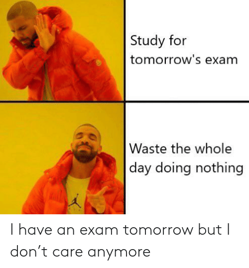 Reddit, Tomorrow, and Don: Study for  tomorrow's exam  Waste the whole  day doing nothing I have an exam tomorrow but I don't care anymore