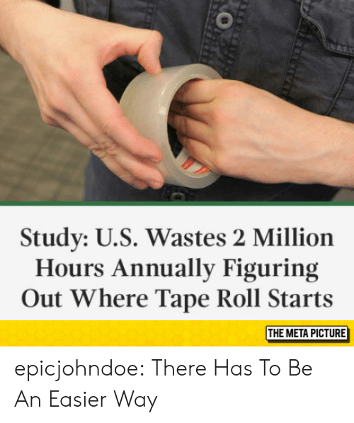 Annually: Study: U.S. Wastes 2 Million  Hours Annually Figuring  Out Where Tape Roll Starts  THE META PICTURE epicjohndoe:  There Has To Be An Easier Way