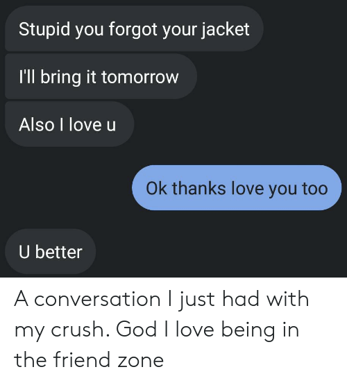 Crush, God, and Love: Stupid you forgot your jacket  I'll bring it tomorrow  Also I love u  Ok thanks love you too  U better A conversation I just had with my crush. God I love being in the friend zone