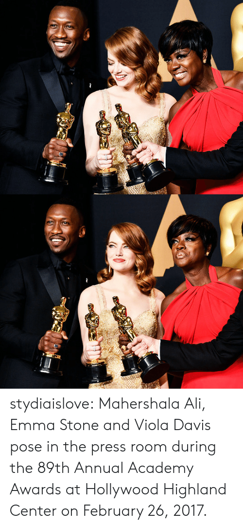 Academy Awards, Ali, and Target: stydiaislove:  Mahershala Ali, Emma Stone and Viola Davis pose in the press room during the 89th Annual Academy Awards at Hollywood  Highland Center on February 26, 2017.