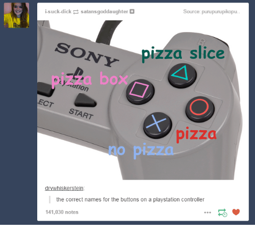 Pizza Slice: suck dick  satans goddaughter  Source: purupurupikopu  SONY  pizza slice  e' y tatlon  ECT START  pizza  drvwhisker Stein  the correct names for the buttons on a playstation controller  141,030 notes