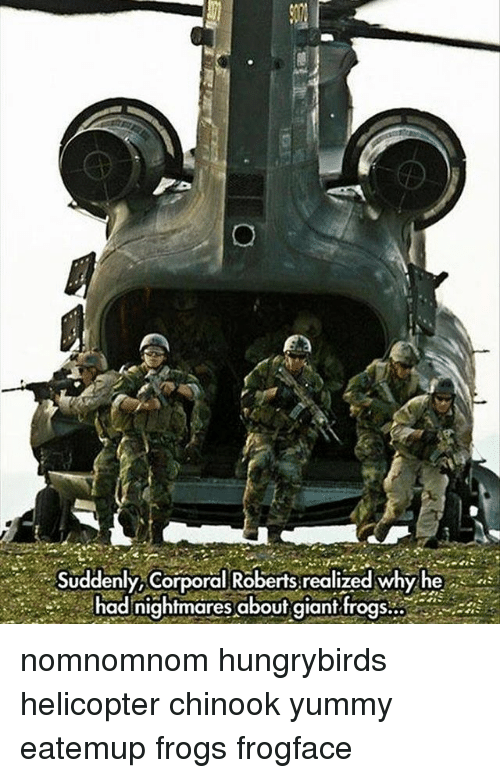 corporal: .,..- Suddenly Corporal Roberts, realized whyhe  had nightmares abouf giant nomnomnom hungrybirds helicopter chinook yummy eatemup frogs frogface