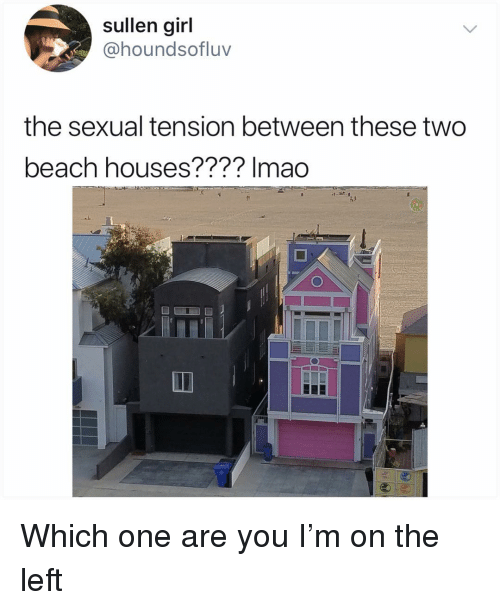 Memes, Beach, and Girl: sullen girl  @houndsofluv  the sexual tension between these two  beach houses???? lmado Which one are you I'm on the left