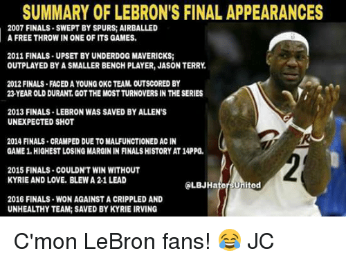 Marginalize: SUMMARY OF LEBRON'S FINAL APPEARANCES  2007 FINALS SWEPT BY SPURS AIRBALLED  A FREE THROW IN ONE OF ITS GAMES.  2011 FINALS UPSET BY UNDERDOG MAVERICKS;  OUTPLAYED BY A SMALLER BENCH PLAYER, JASON TERRY,  2012 FINALS FACEDAYOUNG OKC TEAM OUTSCORED BY  23 YEAR OLD DURANT, GOTTHE MOSTTURNOVERS IN THE SERIES  2013 FINALS LEBRON WAS SAVED BYALLEN'S  UNEXPECTED SHOT  2014 FINALS CRAMPED DUE TO MALFUNCTIONED ACIN  GAME 1.HIGHESTLOSING MARGIN IN FINALS HISTORY AT14PPG.  2015 FINALS COULDN'T WIN WITHOUT  KYRIE AND LOVE. BLEWA 2-1 LEAD  ed  2016 FINALS WON AGAINST A CRIPPLED AND  UNHEALTHY TEAM: SAVED BYKYRIE IRVING C'mon LeBron fans! 😂  JC