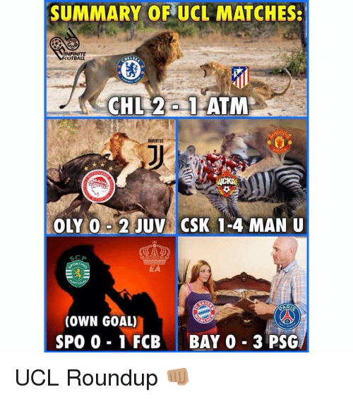Football, Memes, and Goal: SUMMARY OF UCL MATCHES:  NFINITE  FOOTBALL  HELS  JUVENTUS  RTI  EA  (OWN GOAL)  SPO 0 1 FCBBAY 0 3 PSG UCL Roundup 👊🏽